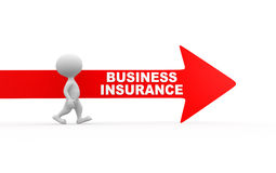 Business insurance. 3d peopele - man and red arrow. Business insurance Royalty Free Stock Photography