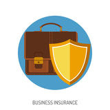 Business Insurance Flat Icon. For Web Site, Advertising with Briefcase and Shield Royalty Free Stock Image