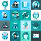 Business Insurance Icons Set Stock Photos