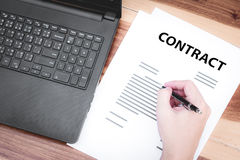 Business insurance lawyer concept : hand using pen sign business Stock Photo
