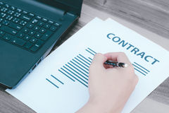Business insurance lawyer concept : hand using pen sign business Royalty Free Stock Photo