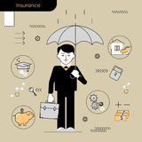 Business Insurance Services conceptual . Business man holding an Royalty Free Stock Photo