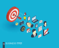 Business integrated 3d web icons. Growth and progress concept Royalty Free Stock Images