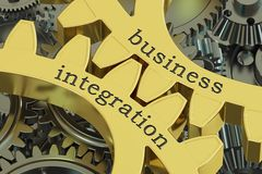 Business integration concept on the gearwheels, 3D rendering. Business integration concept on the gearwheels, 3D Stock Image