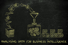 Business intelligence and analysing data: factory machines trans. Analysing data for business intelligence:factory machines turning unorganized paper into Stock Photo