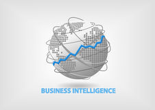 Business Intelligence (BI) concept illustration with world map vector illustration