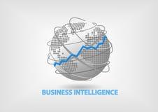 Business Intelligence (BI) pojęcie ilustracja z światową mapą Fotografia Royalty Free