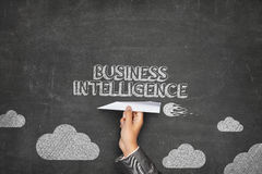 Business intelligence concept on blackboard with Stock Image