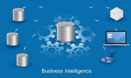 Business Intelligence Concept. Data processing flow with data sources, ETL, datawarehouse, OLAP, data mining and business analysis Royalty Free Stock Photos