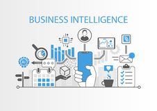 Business intelligence concept with hand holding modern bezel free smart phone stock illustration