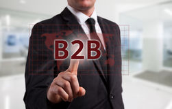 Business intelligence concept man pressing selecting B2B Royalty Free Stock Photography