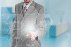 Business intelligence concept man pressing Royalty Free Stock Images