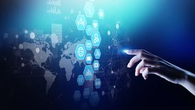 Business Intelligence, dane analizy deska rozdzielcza z ikon mapami i diagram na wirtualnym ekranie, ilustracja wektor