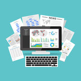 Business intelligence dashboard application. Data visualization on desktop screen.  Stock Photos