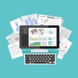 Business Intelligence deski rozdzielczej zastosowanie Dane unaocznienie na desktop ekranie royalty ilustracja