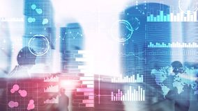 Business intelligence. Diagram, Graph, Stock Trading, Investment dashboard, transparent blurred background stock photos