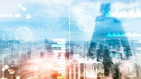 Business intelligence. Diagram, Graph, Stock Trading, Investment dashboard, transparent blurred background. stock photos