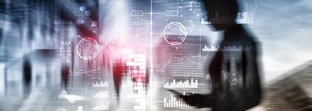 Business intelligence. Diagram, Graph, Stock Trading, Investment dashboard, transparent blurred background. royalty free stock photography