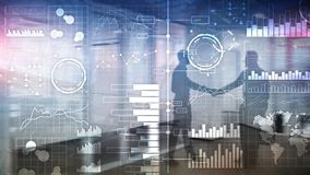 Business intelligence. Diagram, Graph, Stock Trading, Investment dashboard, transparent blurred background royalty free stock image