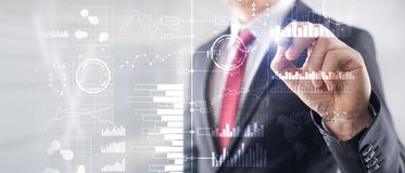 Business Intelligence Diagrama, gr?fico, compra y venta de acciones, tablero de instrumentos de la inversi?n, fondo borroso trans imagen de archivo libre de regalías