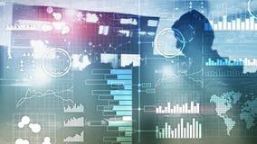 Business Intelligence Diagrama, gr?fico, compra y venta de acciones, tablero de instrumentos de la inversi?n, fondo borroso trans fotografía de archivo