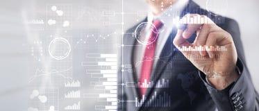 Business intelligence Diagramma, grafico, commercio di riserva, cruscotto di investimento, fondo vago trasparente Affare immagine stock libera da diritti