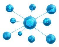Business intelligence elements abstract representation. Business intelligence elements: data sources , datawarehouse, ETL, OLAP cube, data marts, data mining Royalty Free Stock Images