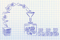 Business intelligence: factory machines transforming documents i. Business intelligence: illustration with factory machines turning unorganized paper into Stock Photos