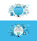 Business Intelligence. Flat line color hero images  Royalty Free Stock Images