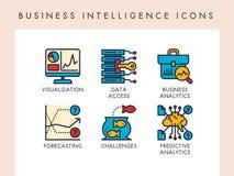 Business Intelligence ikony Zdjęcia Royalty Free