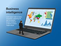 Business intelligence ill man on note txt stock illustration