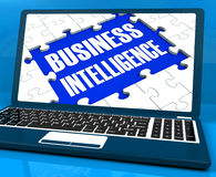 Business Intelligence On Laptop Showing Collecting Client Inform Royalty Free Stock Photography
