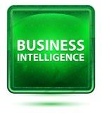 Business Intelligence Neonowy Jasnozielony Kwadratowy guzik ilustracja wektor