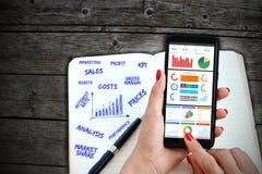Business Intelligence, oprogramowanie wykresów deska rozdzielcza na smartphone z laptop klawiaturą i ręcznie pisany agenda, Fotografia Stock