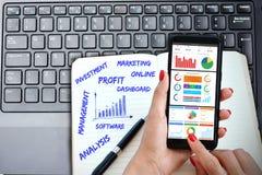 Business Intelligence, oprogramowanie wykresów deska rozdzielcza na smartphone z laptop klawiaturą i ręcznie pisany agenda, zdjęcia royalty free