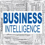 Business intelligence word cloud. Creative illustration of idea word lettering typography . 3D rendering Royalty Free Stock Image