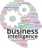 Business Intelligence Word Cloud Text Illustration. stock illustration