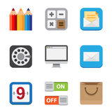 Business and interface flat icons set. Stock Photography