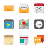 Business and interface flat icons set. Stock Images