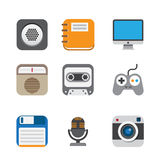 Business and interface flat icons set stock illustration