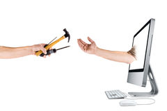 Business, internet and computer repair stock photography
