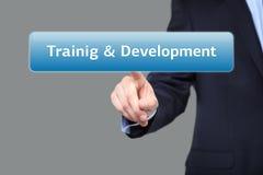 Business, internet  concept - businessman pressing training and development button on virtual screens Stock Photos