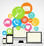 Business Internet on Different Electronic Devices Stock Photo