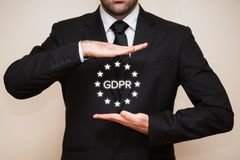 General Data Protection Regulation GDPR. Business interpretes the new General Data Protection Regulation GDPR law by european union Royalty Free Stock Photos