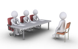 Business interview. Businessmen sitting behind a desk and a person is sitting in front of them as conducting an interview Stock Photo