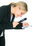 Business Investigator Checking Name Tag Royalty Free Stock Images