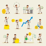 Business Investment Characters Set. With successful businessman gold coins and banknotes in different variations  vector illustration Royalty Free Stock Photography