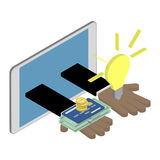 Business investment concept. African American hands giving ideas. And money. Isometric  illustration Stock Photography