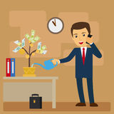 Business investment concept. Businessman watering tree of money vector illustration Royalty Free Stock Images