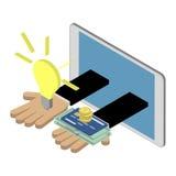 Business investment concept  Caucasian hands giving ideas and mo. Business investment concept. Caucasian hands giving ideas and money. Isometric  illustration Stock Photos
